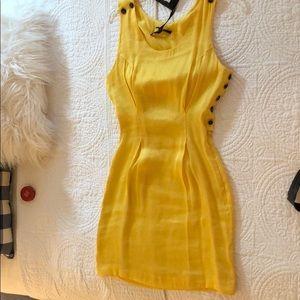 Jenni Kayne Pinafore dress in marigold silk/linen